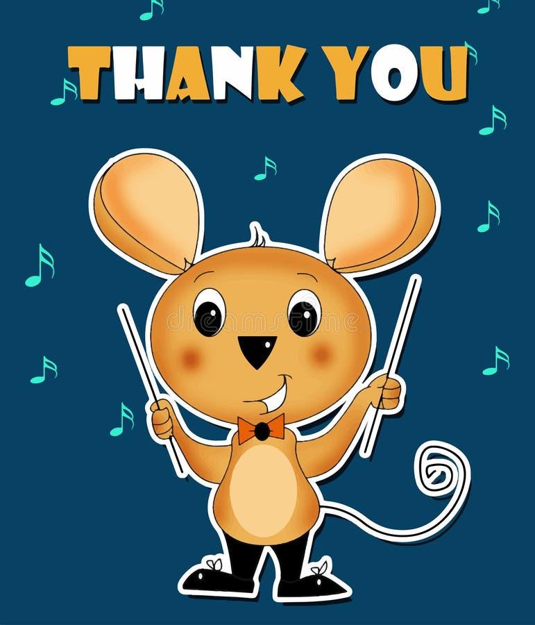 Merci carder la musique de conduite de souris illustration libre de droits