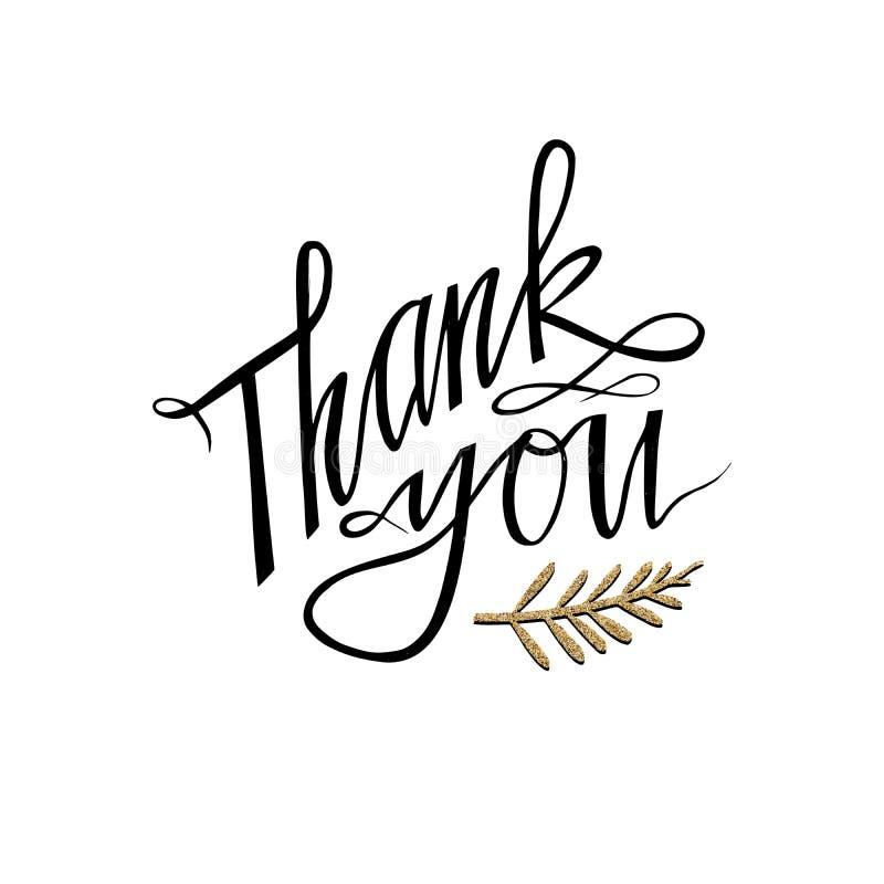 Merci carte de lettrage de main avec la brindille Salutation de la conception tirée par la main d'impression de T-shirt d'invitat image libre de droits