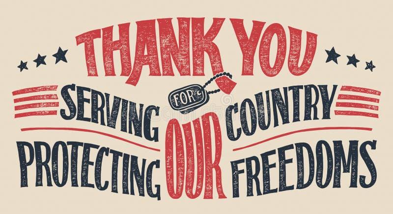 Merci carte de main-lettrage de vétérans illustration libre de droits