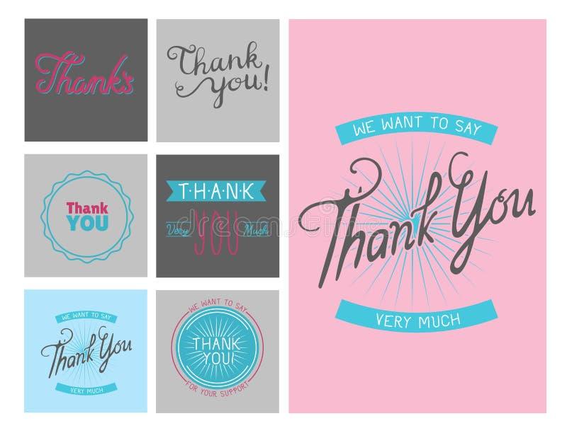 Merci carte de vecteur de lettrage des textes d'émotions de sentiment de gratitude illustration de vecteur