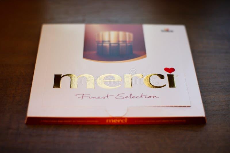 Merci choklad - märke av chokladgodisen som tillverkas av det tyska företaget August Storck som säljs i mer än 70 länder arkivfoton