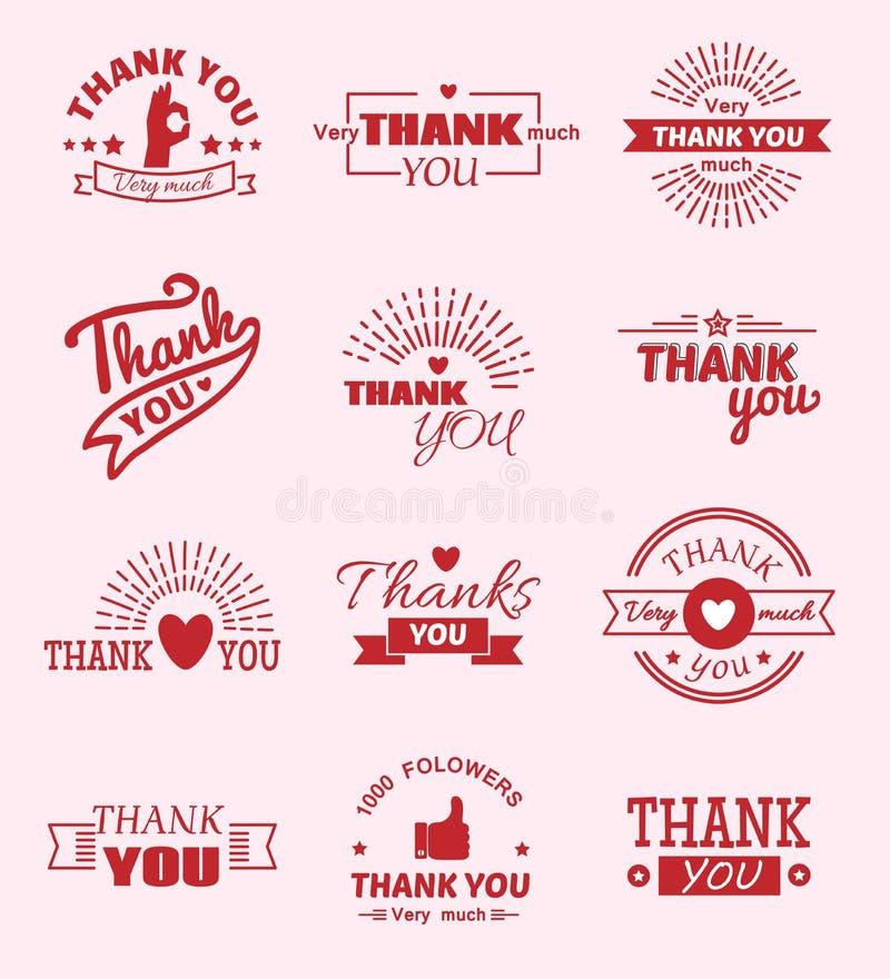 Merci citer des émotions de sentiment de message textuel de vecteur de citate de slogan marquant avec des lettres le thanksfull d illustration stock