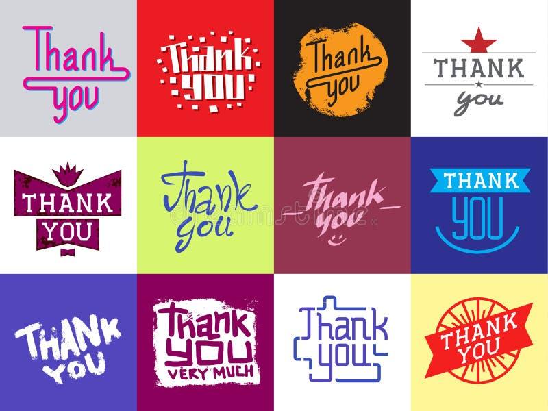 Merci diriger la carte de message de slogan de citate des textes de citation du lettrage des textes d'émotions de sentiment de gr illustration de vecteur