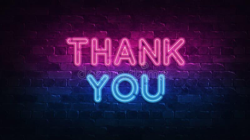 Merci ! enseigne au néon lueur pourpre et bleue Texte au n?on Mur de briques allum? par les lampes au n?on ?clairage de nuit sur  illustration de vecteur