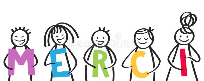 MERCI, grupa kij oblicza trzymać kolorowych listy, francuscy dzieciaki mówić dziękuje ciebie royalty ilustracja