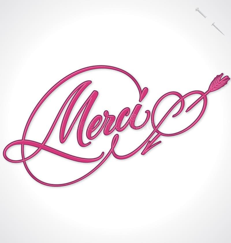 MERCI hand lettering (vector) stock illustration