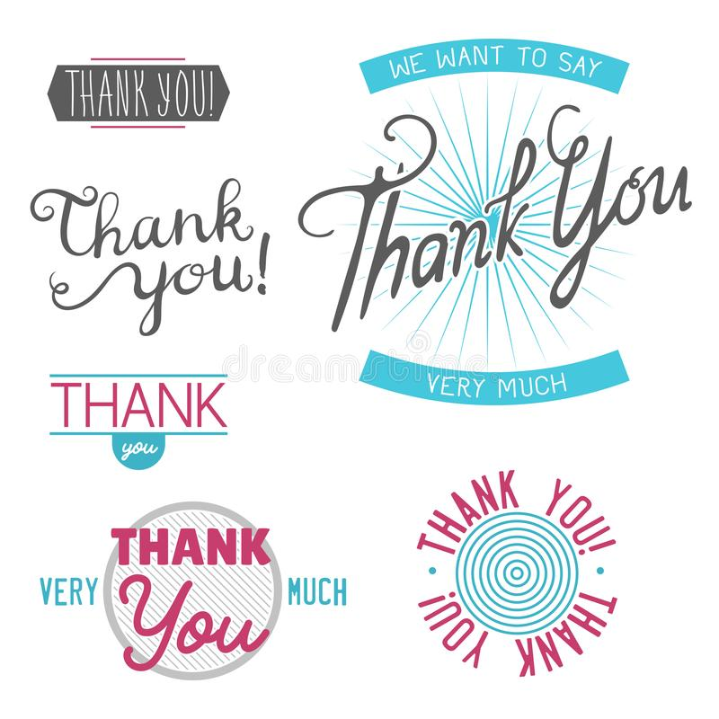 Merci insigne de vecteur de lettrage des textes d'émotions de sentiment de gratitude illustration de vecteur
