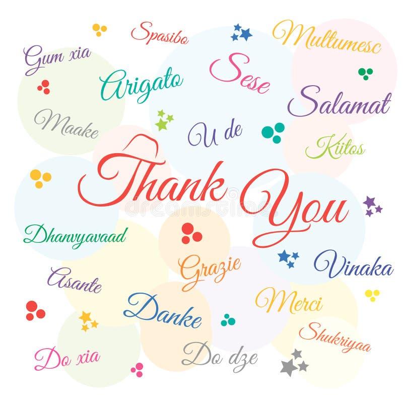 Merci le jour, vacances, dans beaucoup de langues Illustration de vecteur illustration libre de droits