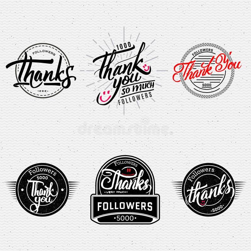 Merci - lettrage calligraphique typographique illustration libre de droits