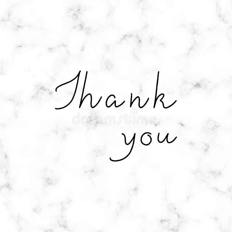 Merci lettrage de main sur le fond de marbre blanc et gris illustration libre de droits