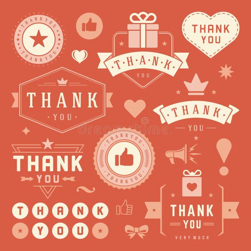 Merci marque et Badges la conception de typographie illustration libre de droits