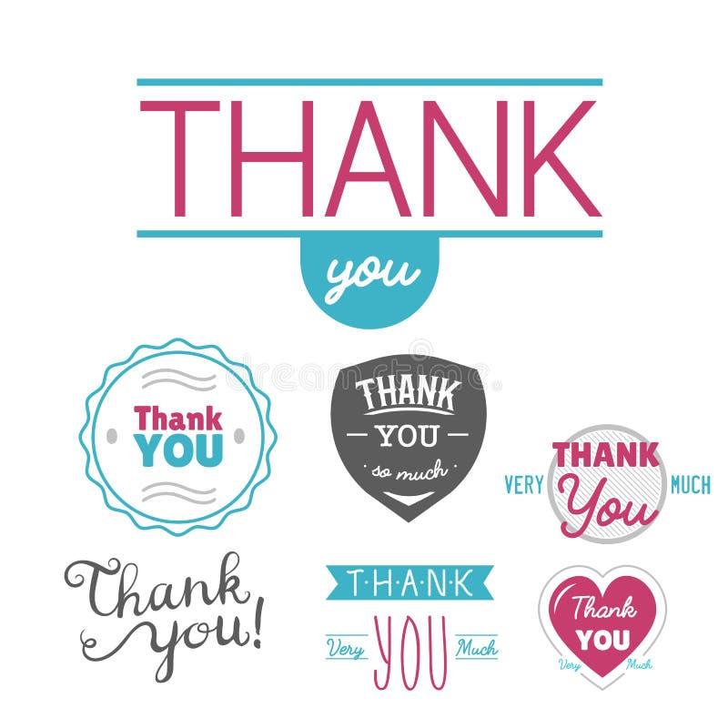 Merci message d'expressions de citation de thanksfull d'insigne de vecteur de lettrage des textes d'émotions de sentiment de grat illustration libre de droits
