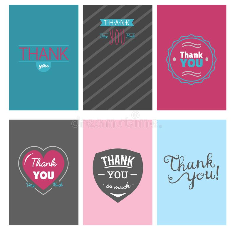 Merci message d'expressions de citation de thanksfull de design de carte de vecteur de lettrage des textes d'émotions de sentimen illustration stock
