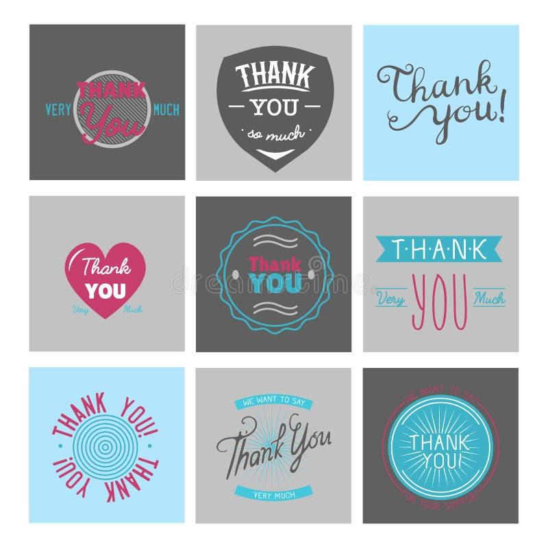 Merci message d'expressions de citation de thanksfull de design de carte de vecteur de lettrage des textes d'émotions de sentimen illustration libre de droits