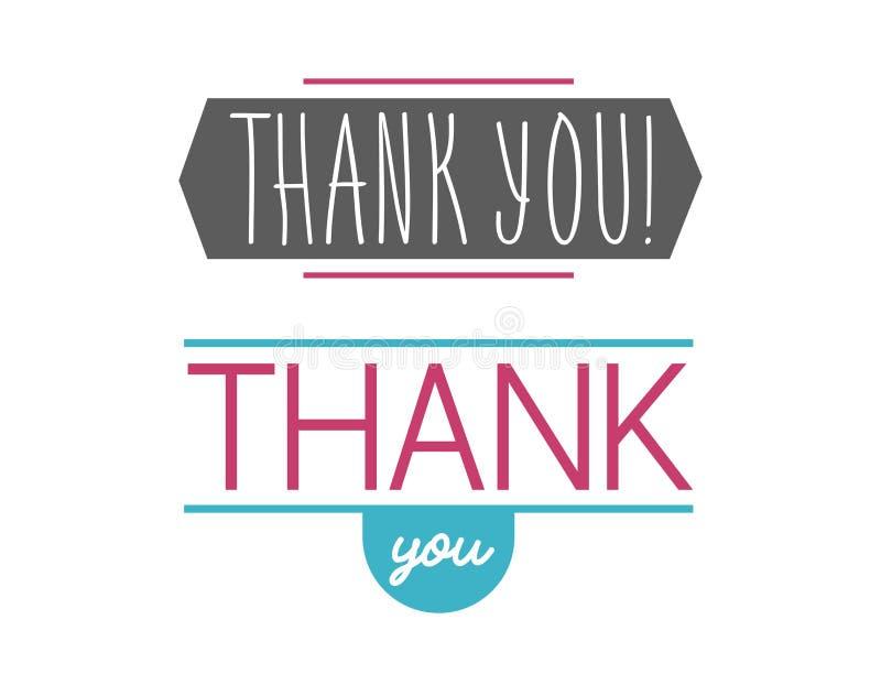 Merci message d'expressions de citation de thanksfull d'insigne de vecteur de lettrage des textes d'émotions de sentiment de grat illustration stock