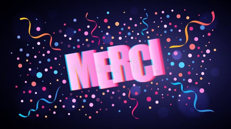 Merci pokrywa się świątecznego literowanie z kolorowymi round confetti royalty ilustracja