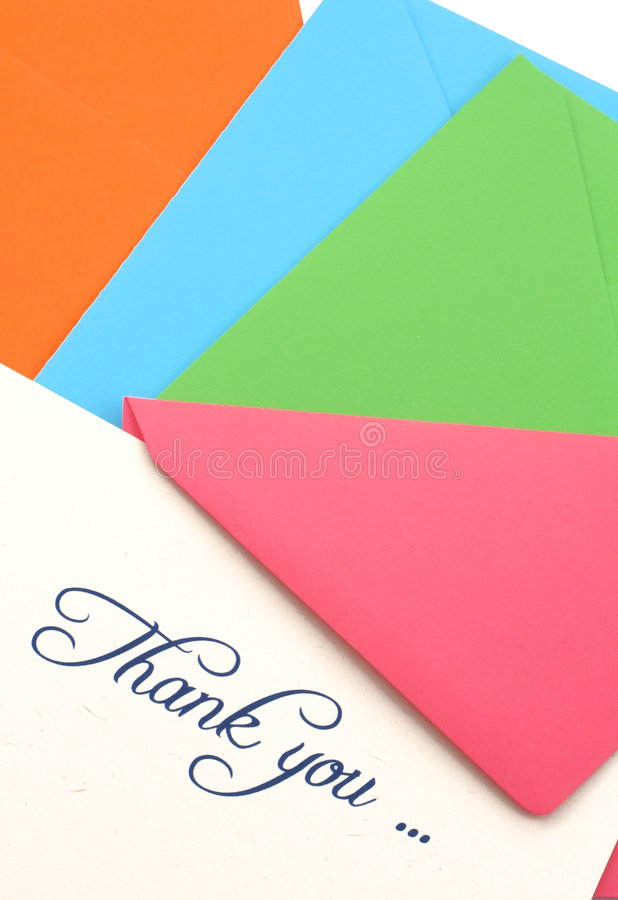 Merci Pour Noter Et Les Enveloppes Photos stock