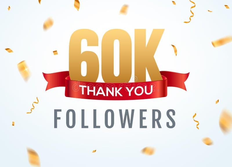 Merci que 60000 disciples conçoivent l'anniversaire social de network number de calibre Amis d'or de nombre des utilisateurs 60k  illustration stock