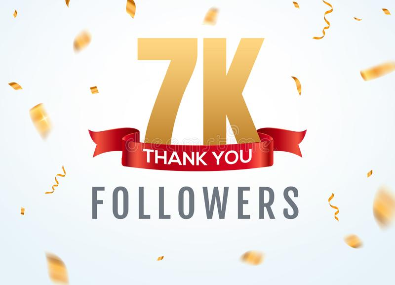 Merci que 7000 disciples con?oivent l'anniversaire social de network number de calibre Amis d'or de nombre des utilisateurs 7k so illustration libre de droits