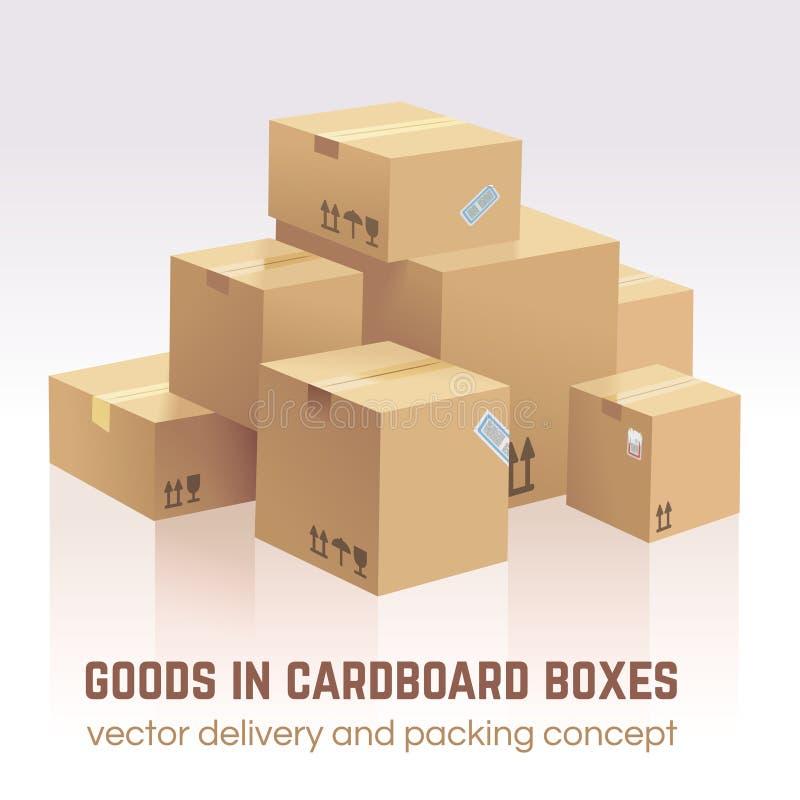 Merci in scatole di cartone Consegna di vettore e concetto dell'imballaggio illustrazione vettoriale