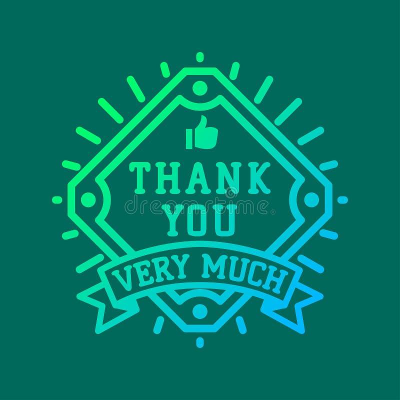 Merci textoter l'insigne de logo de vecteur de lettrage illustration de vecteur