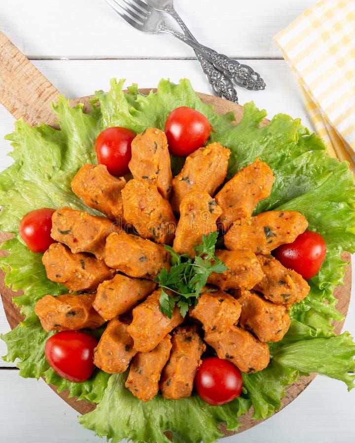 Mercimek Koftesi, Traditional Turkish Food with Bulgur and Lentil stock photo
