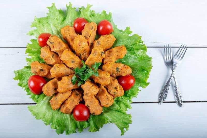 Mercimek Koftesi, Traditional Turkish Food with Bulgur and Lentil royalty free stock photos