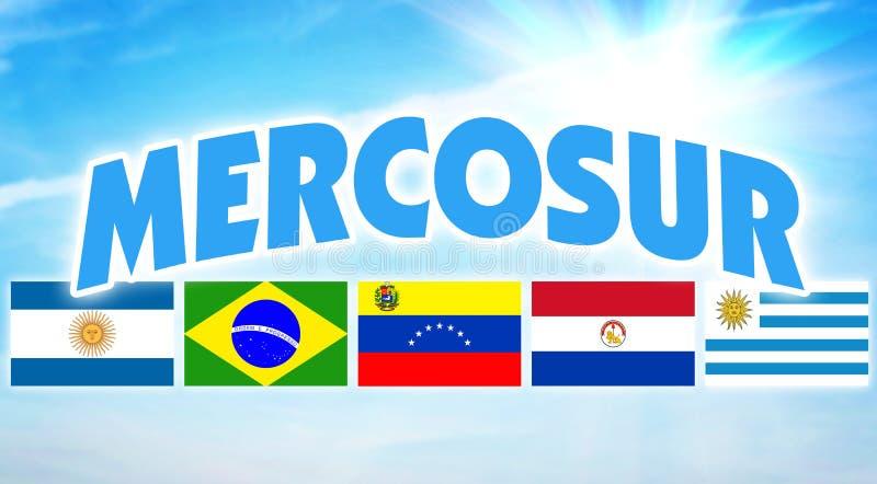 MERCOSUR 南美洲的某些国家的政治联盟 免版税库存照片