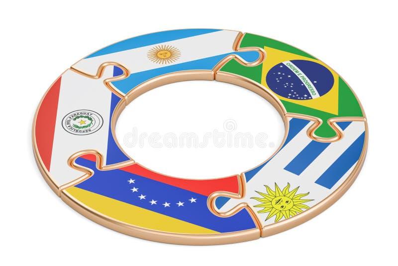 Mercosur-begrepp, tolkning 3D stock illustrationer