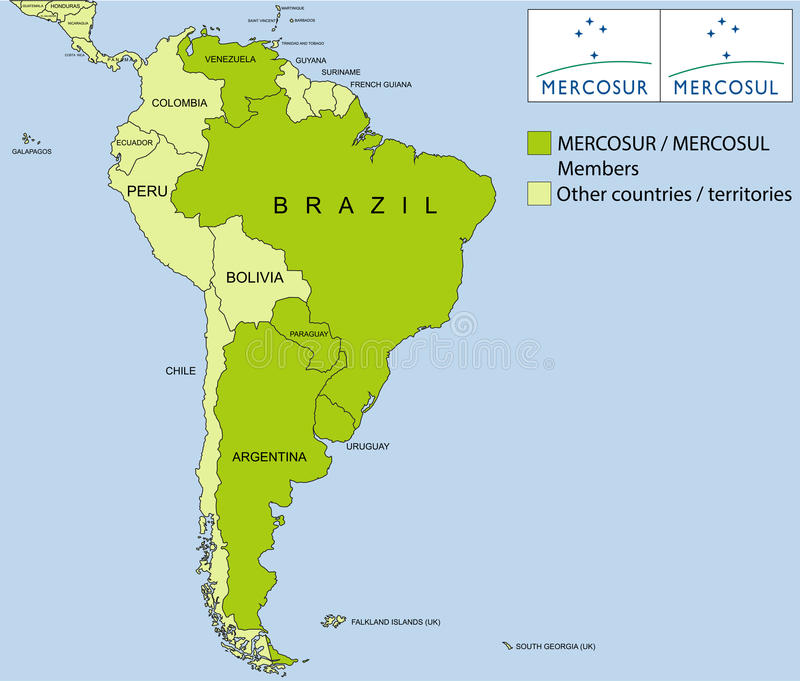 MERCOSUR/MERCOSUL organization royalty free stock images