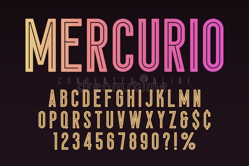 Mercurio inline stilsort, stilsort, alfabet Förtätad original- typ vektor illustrationer