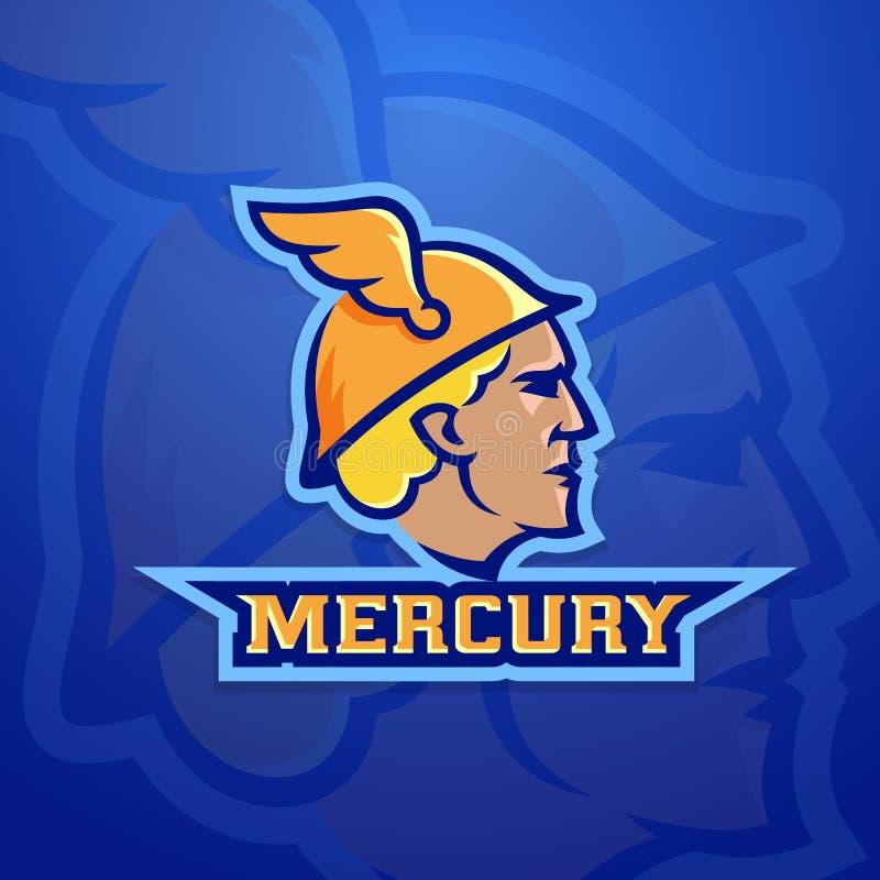 Mercury Abstract Vector Team Logo, emblème ou signe Roman Mythology Trade God antique Concept de style de Logotype de sport illustration de vecteur