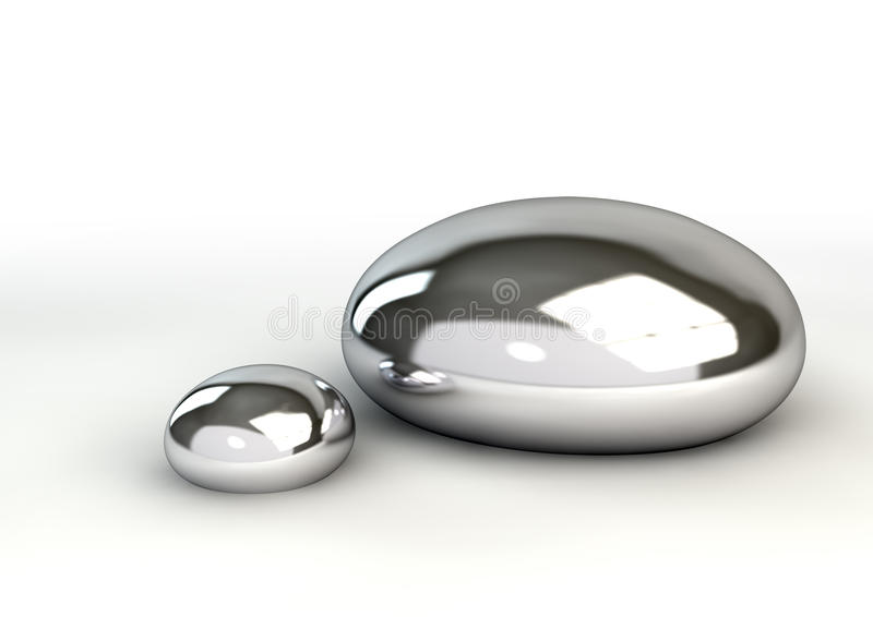 Mercury Droplets On White royalty free stock photos