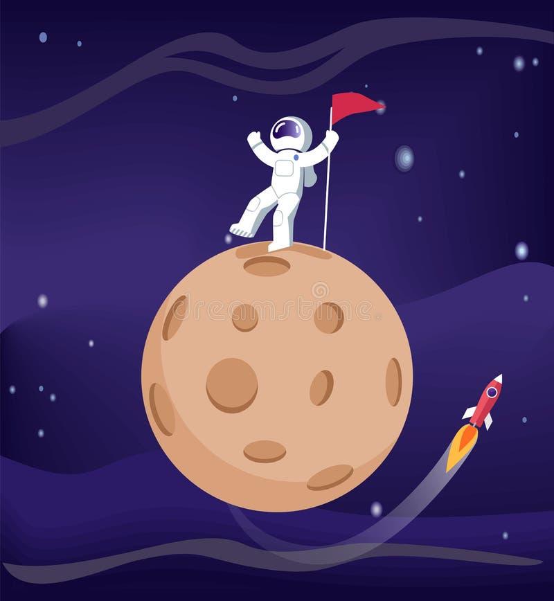 Mercury ed astronauta Poster Vector Illustration royalty illustrazione gratis