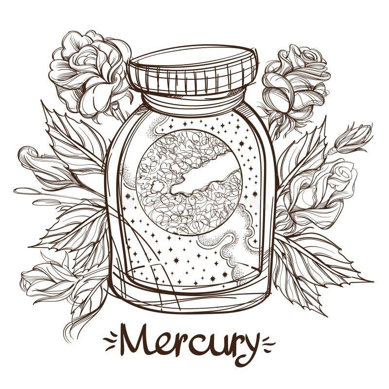 Mercury em um frasco de vidro O planeta do sistema solar em uma bacia de vidro em um suporte Ilustração para o projeto no ilustração stock