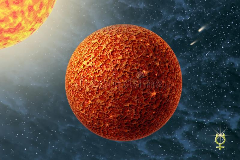 Mercury - a first planet of the solar system. On background starry sky and Sun stock photo