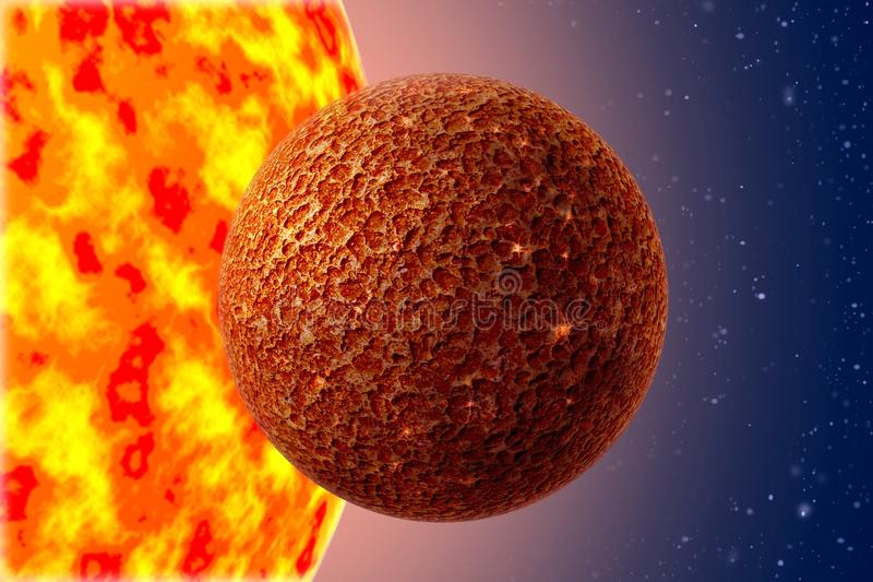 Mercury - a first planet of the solar system. On background Sun and starry sky royalty free stock photo