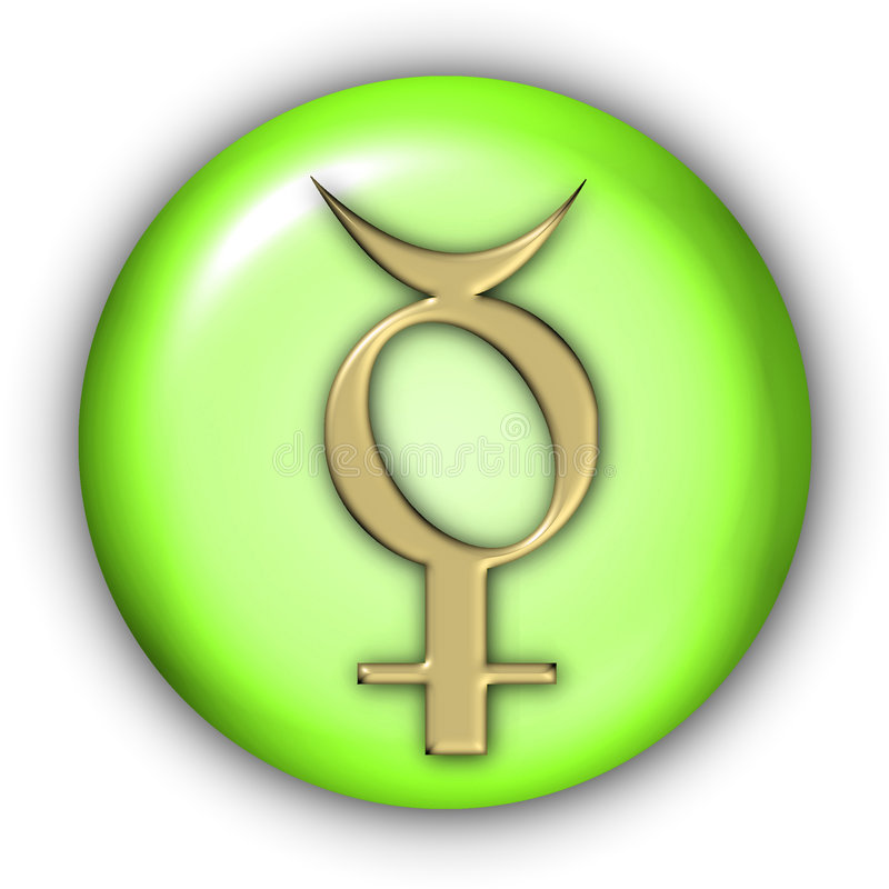 Mercury Glyphs. Planet Glyphs Button - Mercury (Include Clipping Path vector illustration