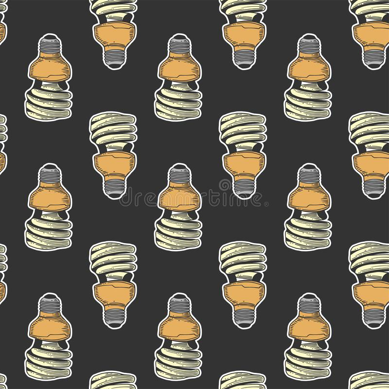 Mercury light bulb. Vector concept in doodle and sketch style. Hand drawn illustration for printing on T-shirts, postcards. Seamless pattern for textile, paper royalty free stock photos