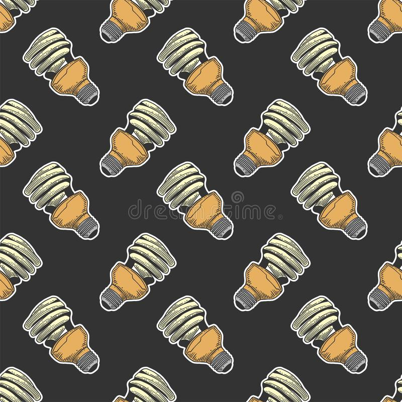 Mercury light bulb. Vector concept in doodle and sketch style. Hand drawn illustration for printing on T-shirts, postcards. Seamless pattern for textile, paper stock images