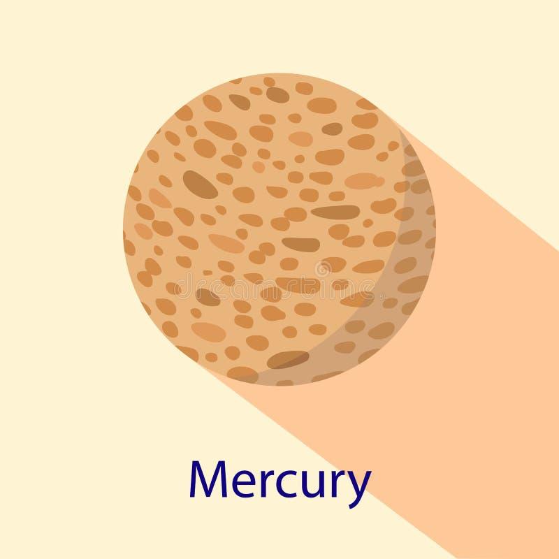 Mercury-planeetpictogram, vlakke stijl vector illustratie