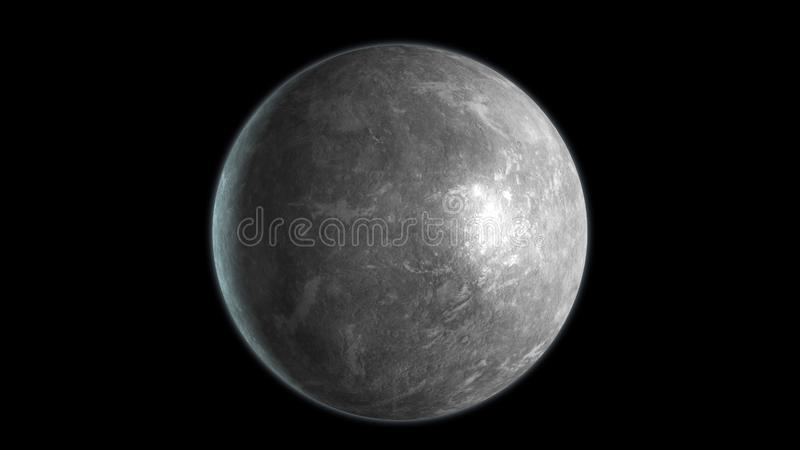 Mercury planet isolated on black background. 3D render vector illustration