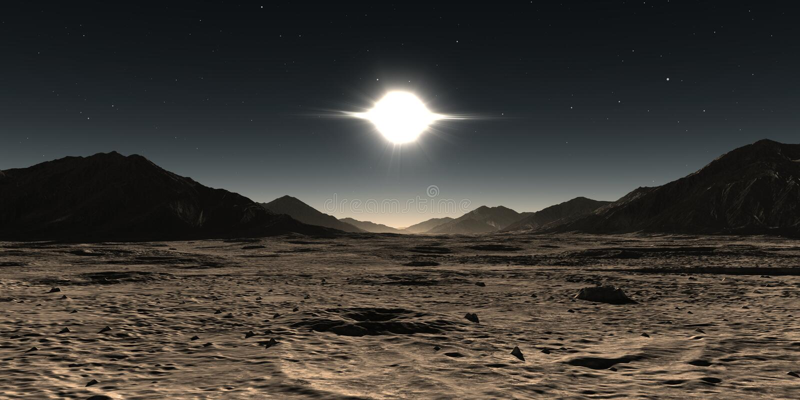 Mercury planet landscape. Sunset on Mercury with sun corona stock illustration