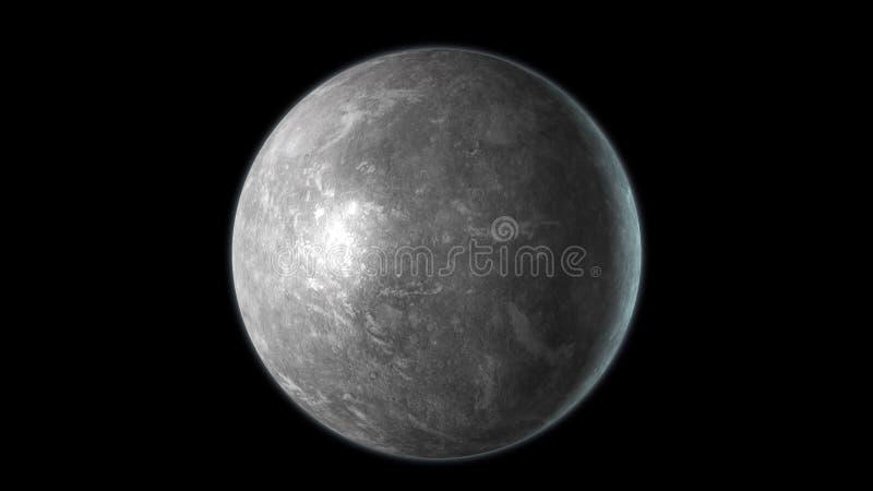 Mercury-Planet lokalisiert auf schwarzem Hintergrund 3d übertragen lizenzfreie abbildung