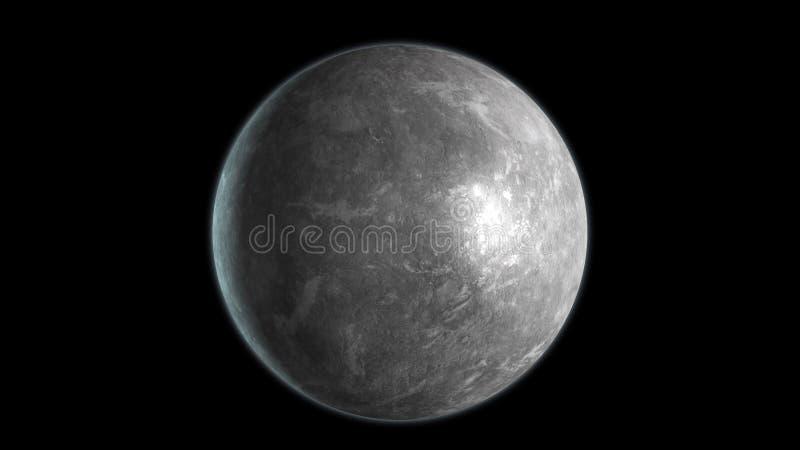 Mercury-Planet lokalisiert auf schwarzem Hintergrund 3d ?bertragen vektor abbildung