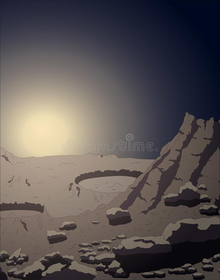 Mercury planet surface close up with sunrise views, vector illustration. Of space and universe royalty free illustration