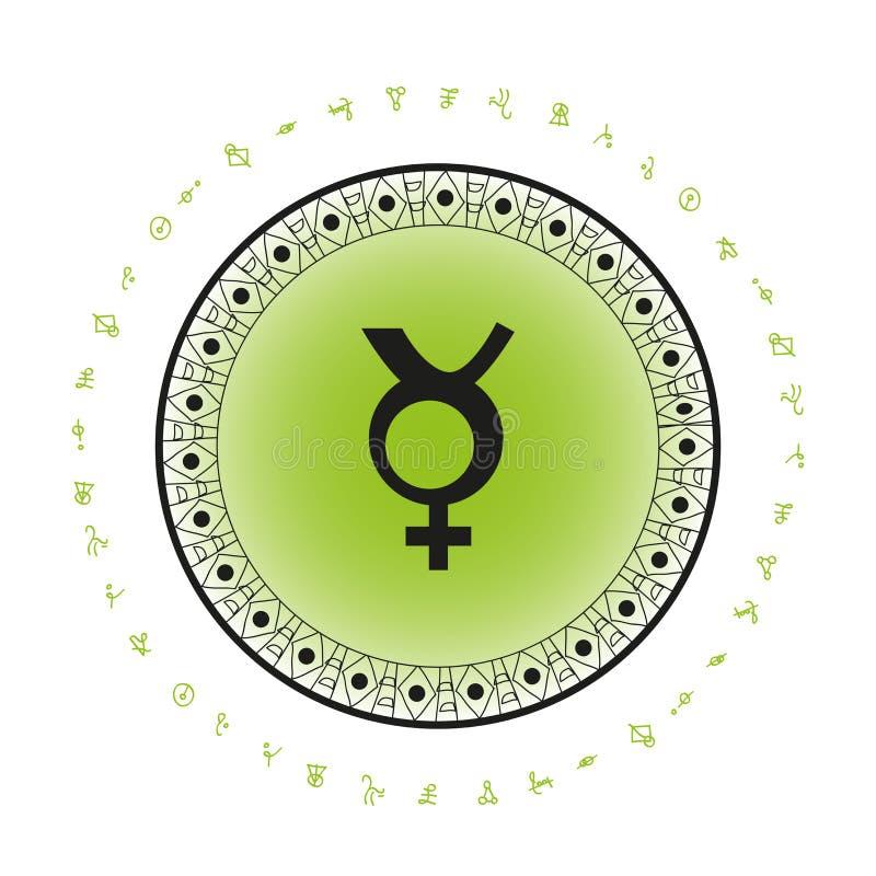 Mercury-Planetensymbolhintergrund vektor abbildung