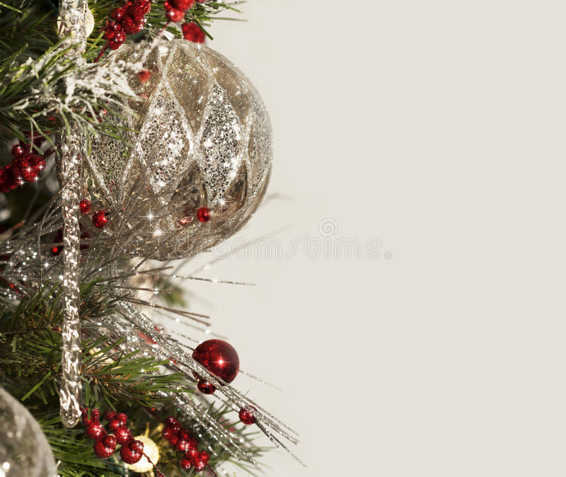 Mercury Silver Christmas Ornament Border stockfotografie