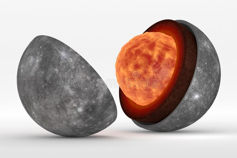 Mercury structure in still life representation. This image represents the internal structure of the planet Mercury. It is a photorealistic 3d rendering in still stock illustration