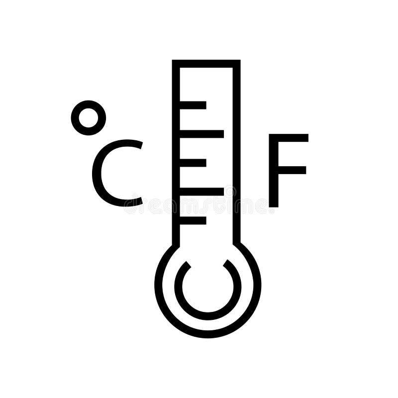 Mercury termometru stopni ikony wektor odizolowywający na białym tle, Mercury termometru stopnie podpisuje, liniowy symbol i uder royalty ilustracja